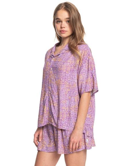 PASTEL LILAC TRIBAL WOMENS CLOTHING QUIKSILVER FASHION TOPS - EQWWT03053-PFM6