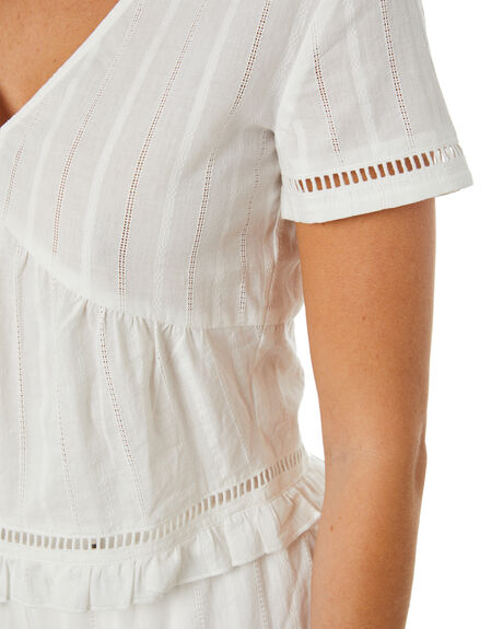 WHITE WOMENS CLOTHING THE HIDDEN WAY FASHION TOPS - H8222005WHT