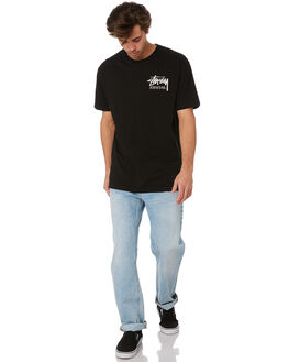 BLACK MENS CLOTHING STUSSY TEES - ST092001BLK