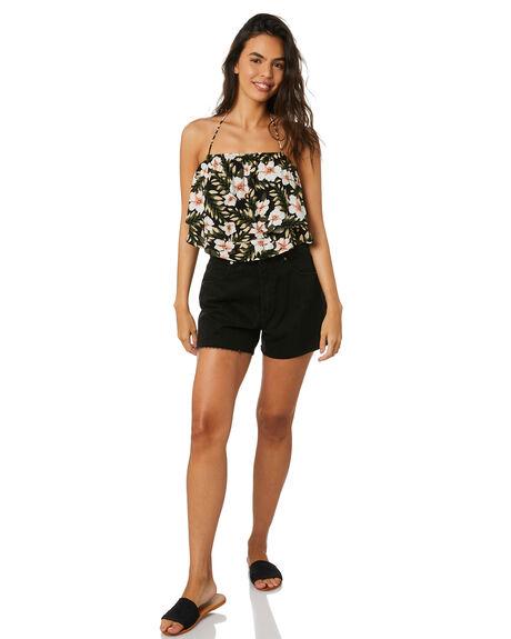 BLACK COMBO WOMENS CLOTHING VOLCOM FASHION TOPS - B0512011BLC