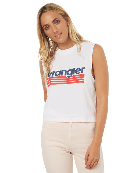 WHITE NAVY WOMENS CLOTHING WRANGLER SINGLETS - W950962N60