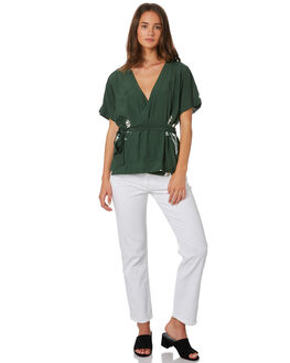 MUSTANG GREEN WOMENS CLOTHING RUE STIIC FASHION TOPS - SA19-5-BMG