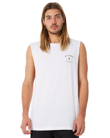 WHITE MENS CLOTHING AFENDS SINGLETS - M183083WHT