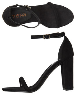 BLACK SUEDE WOMENS FOOTWEAR THERAPY HEELS - SOLE-1222BLK