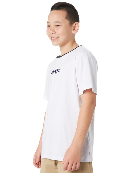 WHITE KIDS BOYS RUSTY TOPS - TTB0635WHT