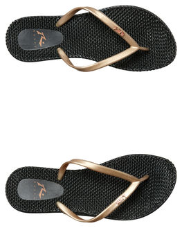 BLACK  ROSE GOLD WOMENS FOOTWEAR RUSTY THONGS - FOL0196BEG