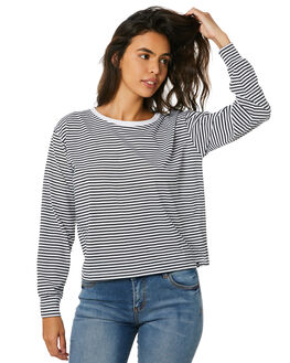 BLK WHITE STRIPE WOMENS CLOTHING RIP CURL TEES - GTEID90431