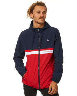 NAVY RED MENS CLOTHING STUSSY JACKETS - ST077505NVYR