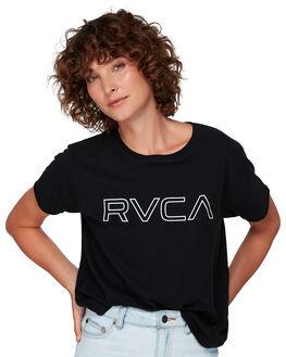 BLACK WOMENS CLOTHING RVCA TEES - RV-R281692-BLK