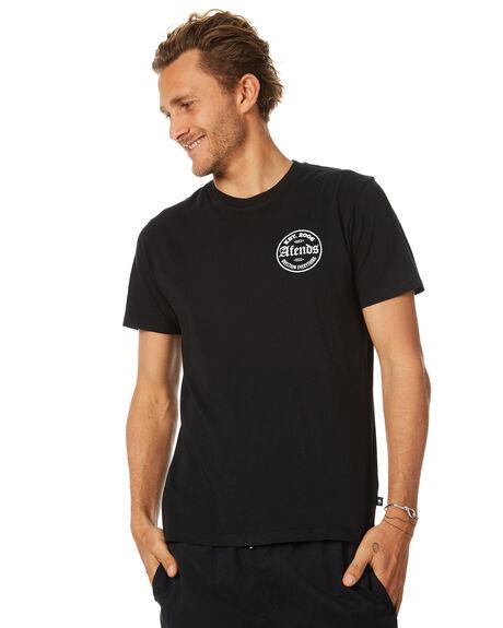 BLACK MENS CLOTHING AFENDS TEES - 01-01-255BLK