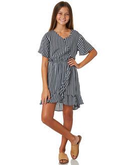 BLACK WHITE STRIPE KIDS GIRLS EVES SISTER DRESSES + PLAYSUITS - 9520004BKWHT