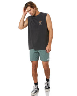 PIGMENT BLACK MENS CLOTHING BARNEY COOLS SINGLETS - 116-Q120PIGBK