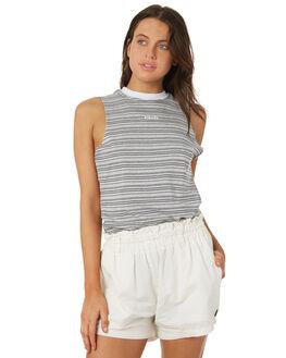GREY MARLE STRIPE WOMENS CLOTHING AFENDS SINGLETS - W181080GRYM