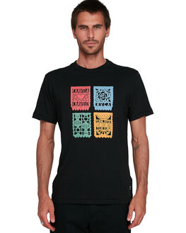 BLACK MENS CLOTHING RVCA TEES - RV-R108045-BLK