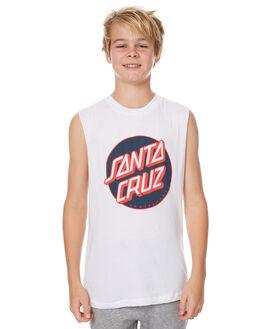 WHITE KIDS BOYS SANTA CRUZ SINGLETS - SC-YTNC006WHT
