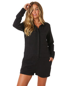 FADED BLACK OUTLET WOMENS THRILLS PLAYSUITS + OVERALLS - WTDP-911FBFBLK