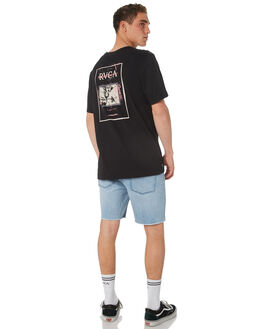 BLACK MENS CLOTHING RVCA TEES - R182046BLK