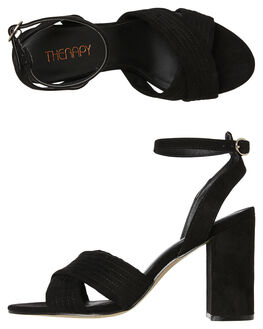 BLACK SUEDE WOMENS FOOTWEAR THERAPY HEELS - S0011BLK