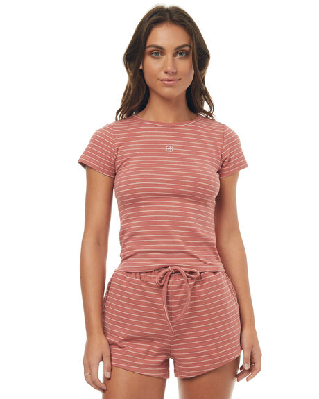 CORAL STRIPE WOMENS CLOTHING STUSSY TEES - ST177107COR
