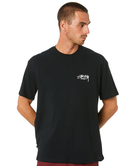 BLACK MENS CLOTHING STUSSY TEES - ST002011BLACK