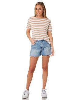 MOCHA STRIPE WOMENS CLOTHING NUDE LUCY TEES - NU23725MOCHA