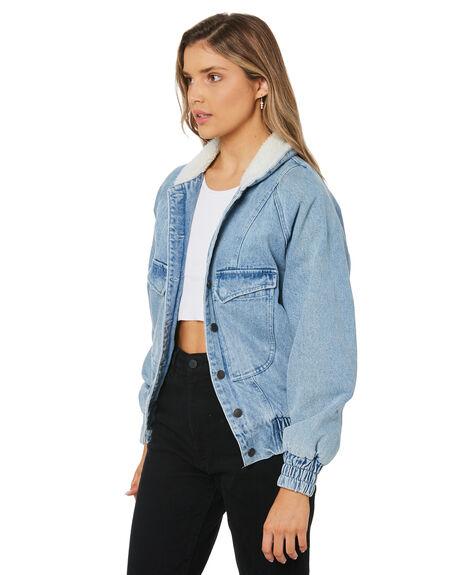 SKY BLUE WOMENS CLOTHING RUSTY JACKETS - JKL0414-SYB