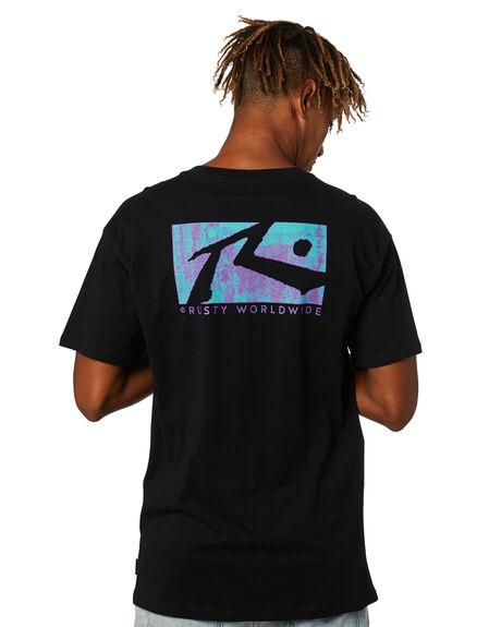 BLACK MENS CLOTHING RUSTY TEES - TTM2574BLK