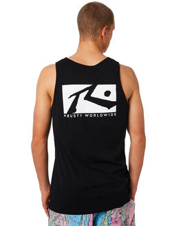 BLACK MENS CLOTHING RUSTY SINGLETS - TSM0470BLK