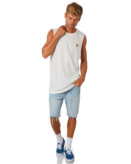 ANTIQUE WHITE MENS CLOTHING RVCA SINGLETS - R193001ANWHT