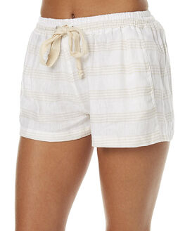 IZZY BEIGE STRIPE WOMENS CLOTHING THE BARE ROAD SHORTS - 6-9-1305-3-02IBS