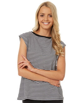 BLACK WHITE STRIPE WOMENS CLOTHING THE FIFTH LABEL TEES - TJ170704T-STBKWHT