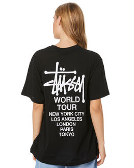 BLACK WOMENS CLOTHING STUSSY TEES - ST106000BLK