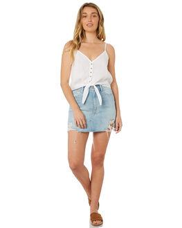 WHITE WOMENS CLOTHING RHYTHM FASHION TOPS - OCT18W-WT01WHT