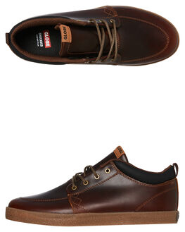 BROWN LEATHER MENS FOOTWEAR GLOBE BOOTS - GBGSCHUKKA17296