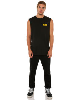 WASHED BLACK MENS CLOTHING SWELL SINGLETS - S5183271WSHBK