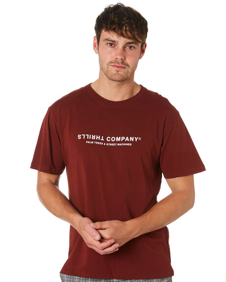BLOOD RED MENS CLOTHING THRILLS TEES - TA9-119HBLDRD