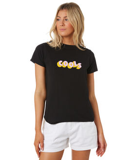 BLACK WOMENS CLOTHING COOLS CLUB TEES - 132-CW5BLK