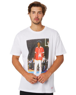 ERVING WHITE MENS CLOTHING MITCHELL AND NESS TEES - 4173OFFCOURTEVWHT