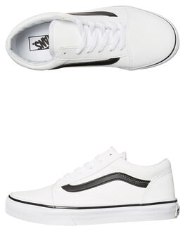 WHITE BLACK KIDS BOYS VANS SNEAKERS - VN-A38HBNQSWHT