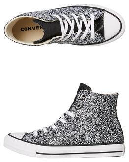 BLACK GLITTER WOMENS FOOTWEAR CONVERSE SNEAKERS - 566268CBLK