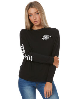 BLACK WOMENS CLOTHING HURLEY TEES - AGTLSHCR00A