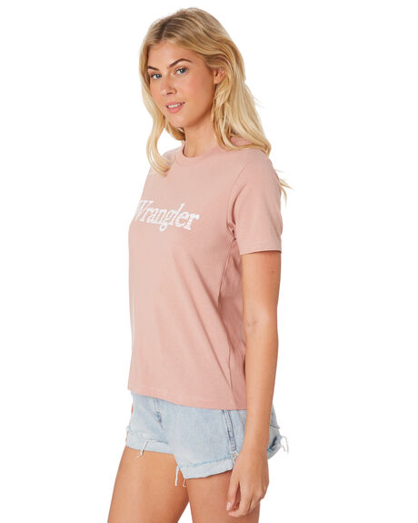 DUSTY PINK WOMENS CLOTHING WRANGLER TEES - W-951145-316PNK