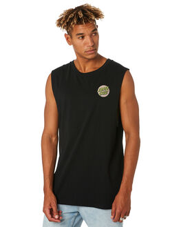 BLACK MENS CLOTHING SANTA CRUZ SINGLETS - SC-MTC9270BLK