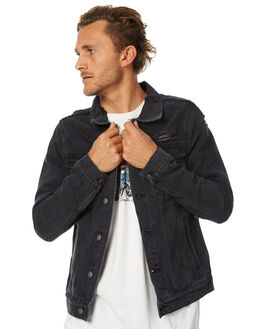 FADED BLACK MENS CLOTHING THRILLS JACKETS - TDP-213BFBLK