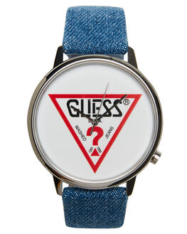 SILVER BLUE DENIM MENS ACCESSORIES GUESS ORIGINALS WATCHES - V1001M1SIL
