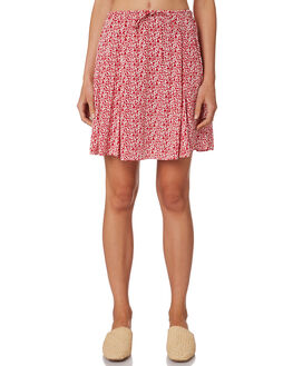 RED FLORAL WOMENS CLOTHING RUE STIIC SKIRTS - WS18-05RF-FRFLO