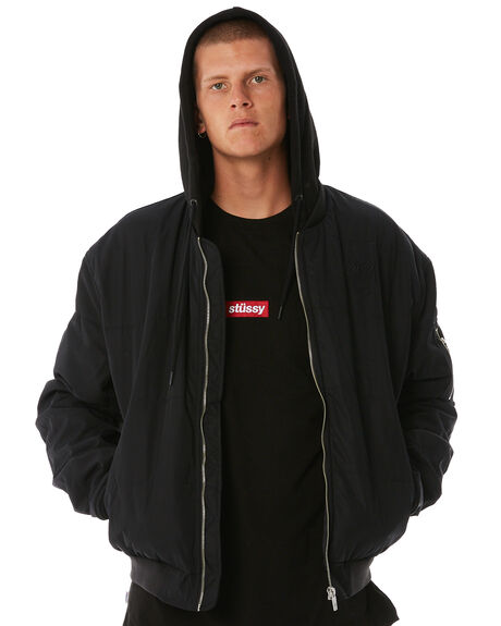 BLACK MENS CLOTHING STUSSY JACKETS - ST086508BLK