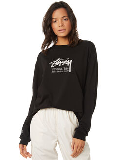 BLACK WOMENS CLOTHING STUSSY TEES - ST197006BLK
