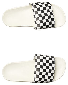 WHITE BLACK WOMENS FOOTWEAR VANS SLIDES - VN-04LG27KWHT