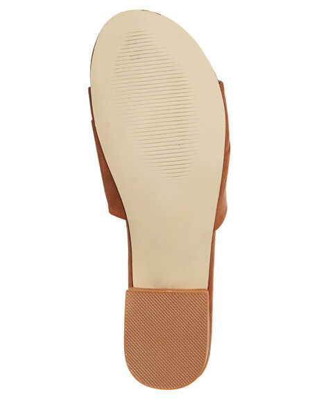 RUST SUEDE OUTLET WOMENS THERAPY SLIDES - SOLE--6117RUST